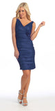 Royal Blue Cocktail Dress Short Tight Fit Wide Straps V Neck Ruched