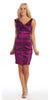 Magenta Cocktail Dress Taffeta Short Tight Fit Flower Strap V Neck