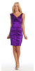 Purple Cocktail Dress Taffeta Short Tight Fit Flower Strap V Neck