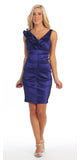 Royal Blue Cocktail Dress Taffeta Short Tight Fit Flower Strap V Neck