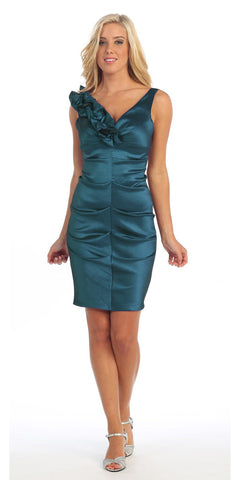 Teal Cocktail Dress Taffeta Short Tight Fit Flower Strap V Neck