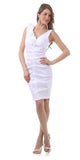 White Cocktail Dress Taffeta Short Tight Fit Flower Strap V Neck