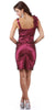 Burgundy Cocktail Dress Taffeta Short Tight Fit Flower Strap V Neck