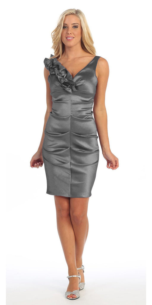 Dark Silver Cocktail Dress Taffeta Short Tight Fit Flower Strap V Neck