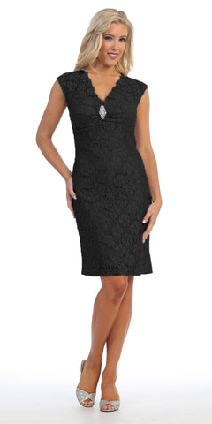 Black Cocktail Lace Dress Knee Length V Neckline Cap Sleeves
