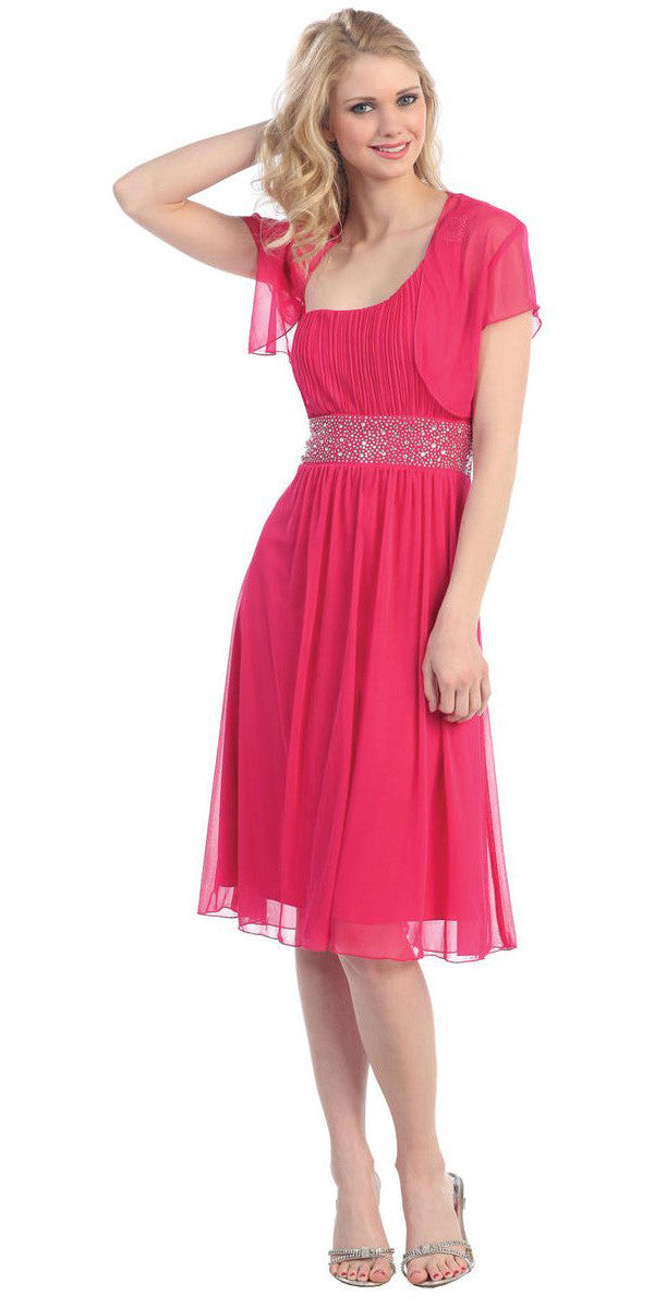 Fuchsia Knee Length Cruise Dress chiffon One Shoulder W/Jacket