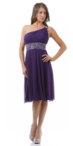 Purple Knee Length Cruise Dress chiffon One Shoulder W/Jacket