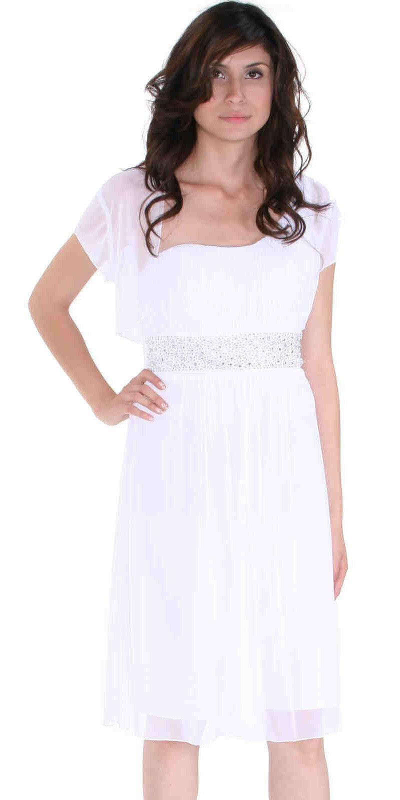 White Knee Length Cocktail Dress chiffon One Shoulder Cruise Dress