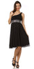 Black Knee Length Cruise Dress chiffon One Shoulder W/Jacket