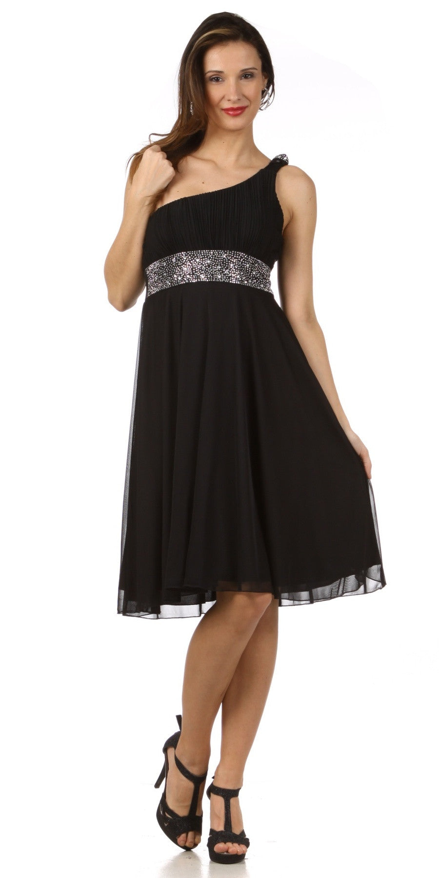 Black Knee Length Cocktail Dress chiffon One Shoulder Cruise Dress