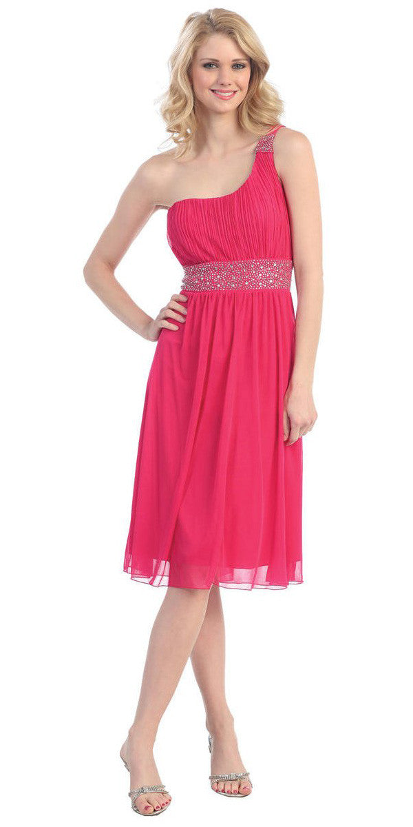 Fuchsia Knee Length Cocktail Dress chiffon One Shoulder Cruise Dress