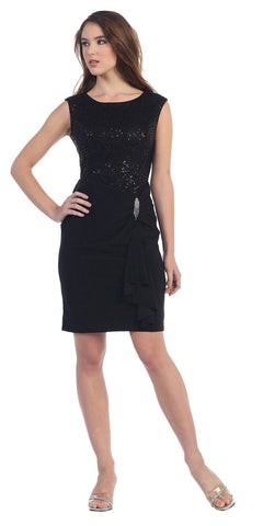 Black Knee Length Sheath Dress Cap Sleeve Sequin Top