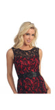 Vintage Black/Red Lace Dress Overlay Sleeveless Short Black Belt