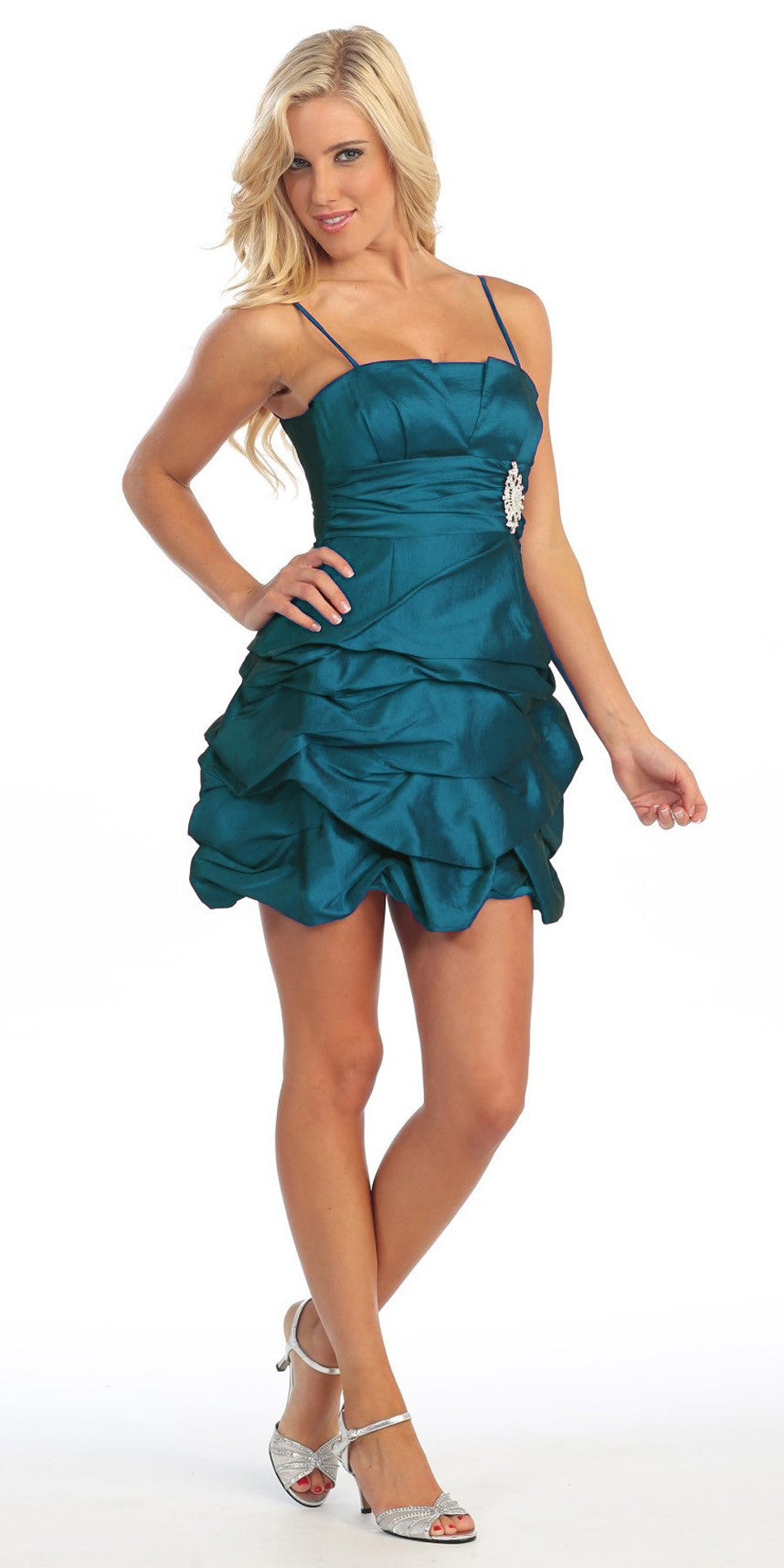 Teal Short Damas Dress Ruched Bubble Skirt Above Knee Length