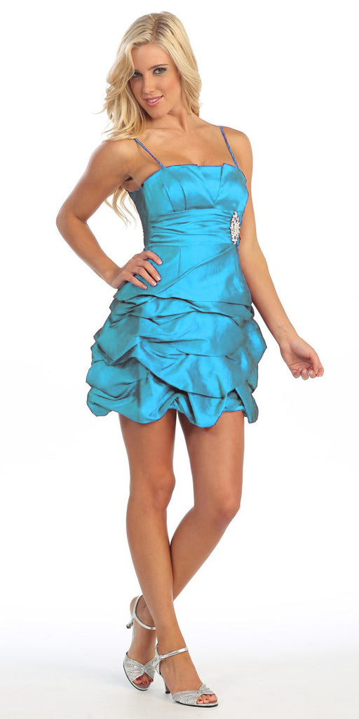 Turquoise Party Dress Satin Cocktail Gown Ruched Bubble Skirt Above Knee