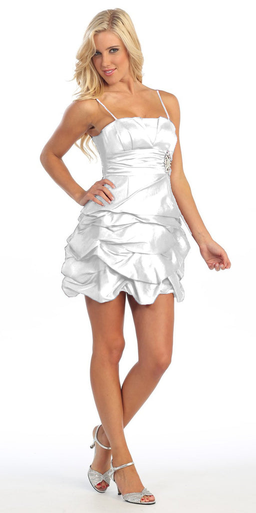 White Short Damas Dress Ruched Bubble Skirt Above Knee Length