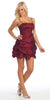 Burgundy Party Dress Satin Cocktail Gown Ruched Bubble Skirt Above Knee