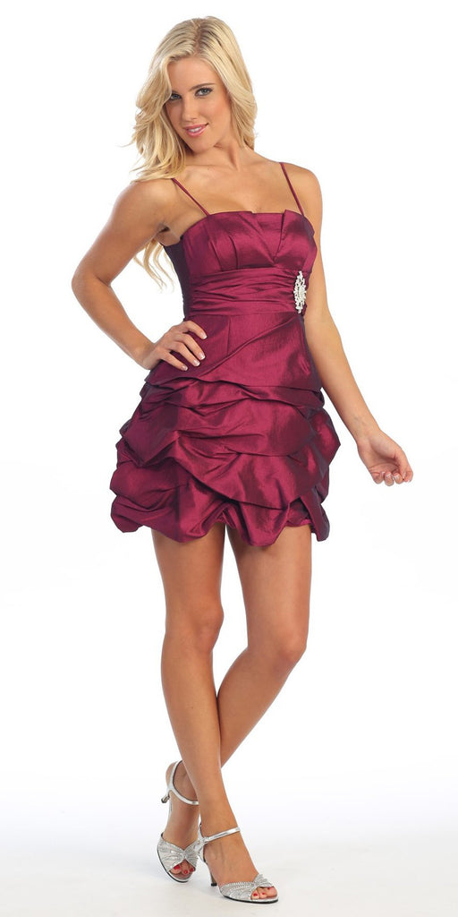 Magenta Party Dress Satin Cocktail Gown Ruched Bubble Skirt Above Knee