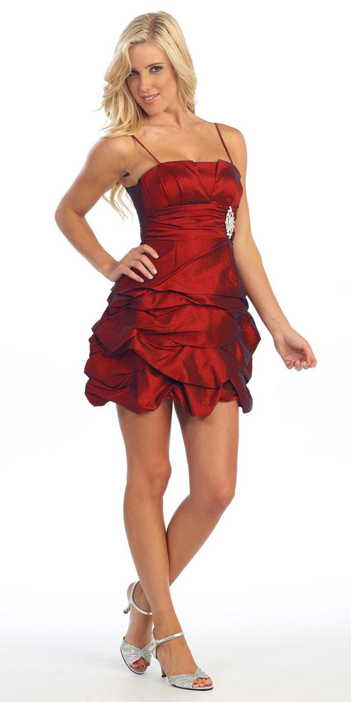 Red Party Dress Satin Cocktail Gown Ruched Bubble Skirt Above Knee