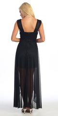 Black Semi Formal Chiffon Dress High Low Wide Strap Rhinestone Waist