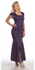Plum Tea Length Semi Formal Dress Lace Cap Sleeves Front Slit