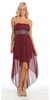 Strapless High Low Burgundy Bridesmaid Dress Flowy Chiffon Empire