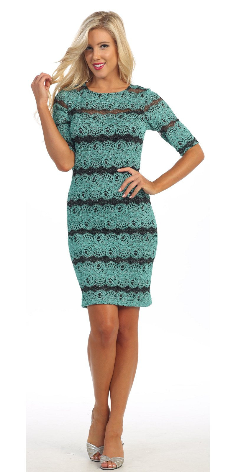 Body Con Aqua Glitter Lace Dress Mid Length Sleeves Short