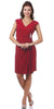 Modest Red Dress Cap Sleeves V Neckline Chiffon Knee Length