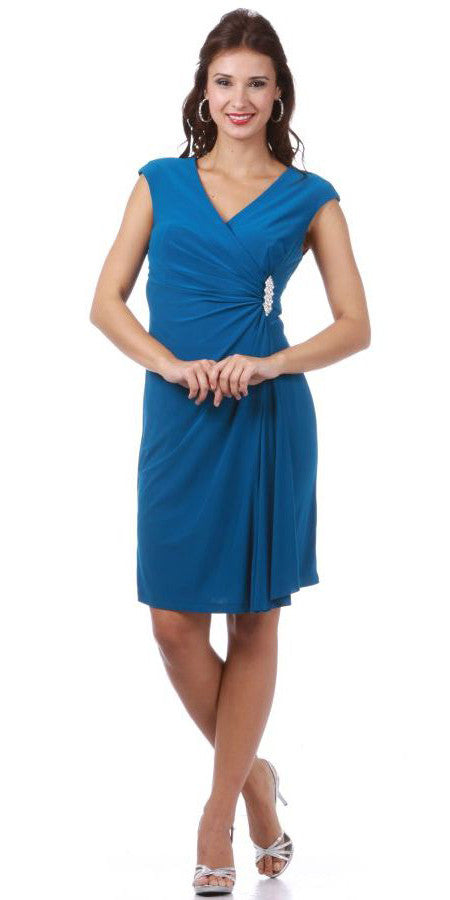 Bridesmaid Teal Blue Dress Cap Sleeves V Neck Knee Length