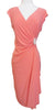 Modest Coral Dress Cap Sleeves V Neckline Chiffon Knee Length