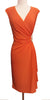 Modest Orange Dress Cap Sleeves V Neckline Chiffon Knee Length