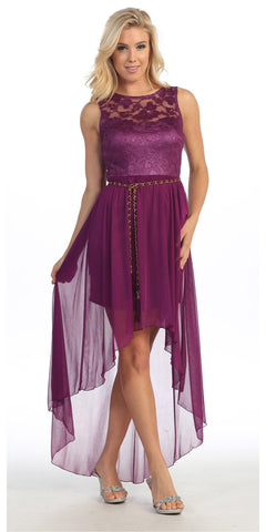 High Low Wine Dress Chiffon Lace Top Wide Strap Illusion Neck
