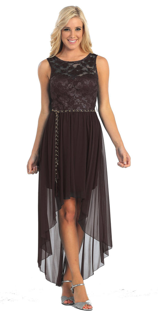 Bridesmaid High Low Black Dress Lace Top Wide Strap Illusion Neck