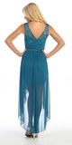 Bridesmaid High Low Teal Dress Lace Top Wide Strap Illusion Neck