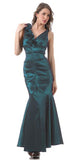 Mermaid Gown Teal Dress Long Satin Flower Strap Flaired Skirt