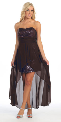 High Low Black Sequins Dress Strapless Chiffon Hi Lo Overlay