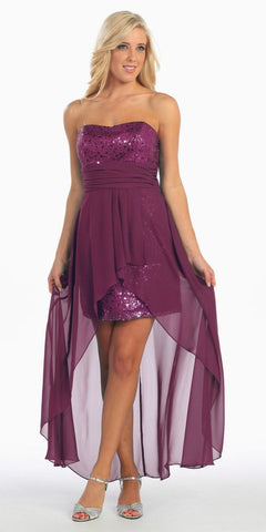 High Low Plum Sequins Dress Strapless Chiffon Hi Lo Overlay