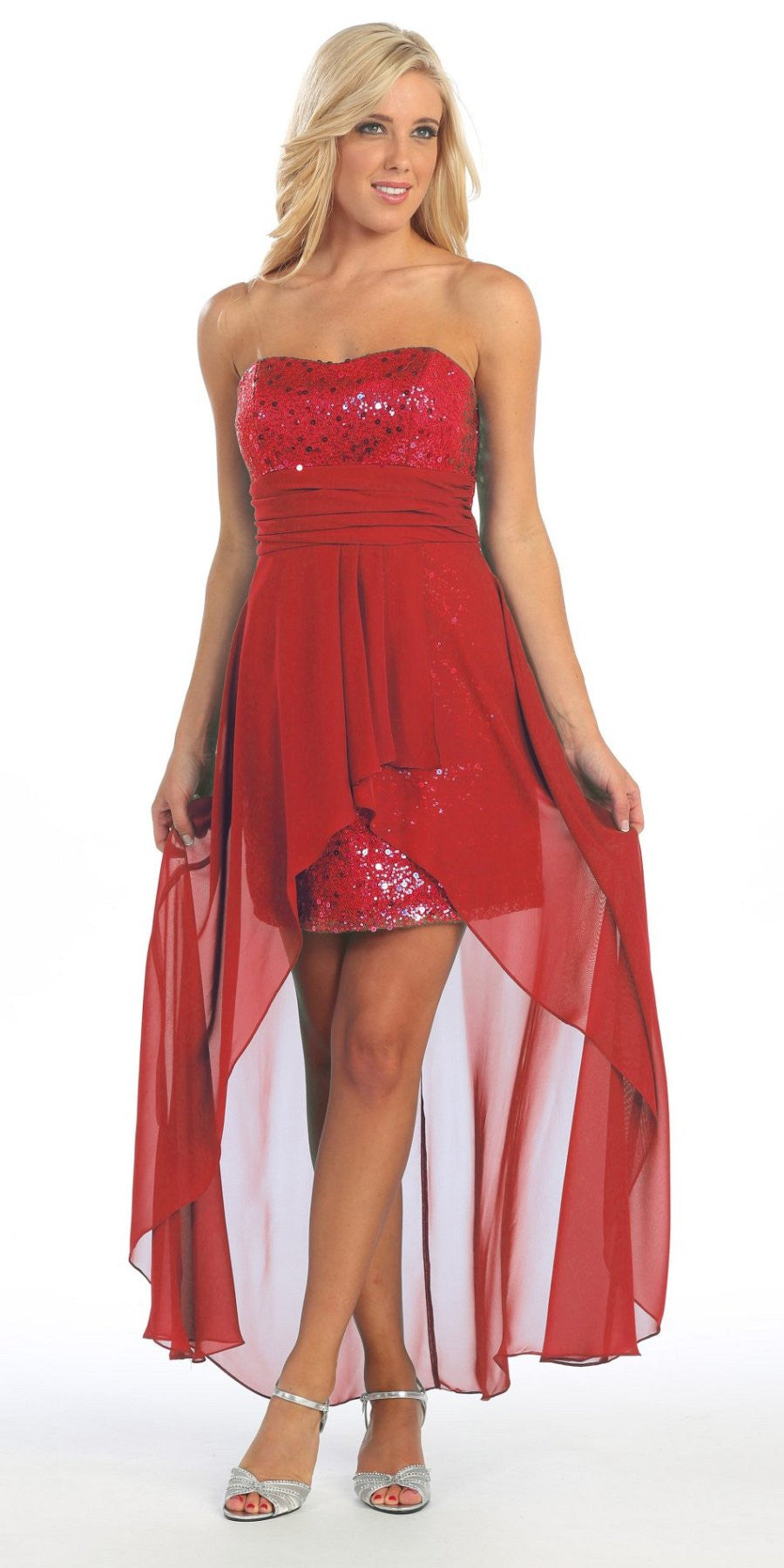 High Low Red Sequins Dress Strapless Chiffon Hi Lo Overlay