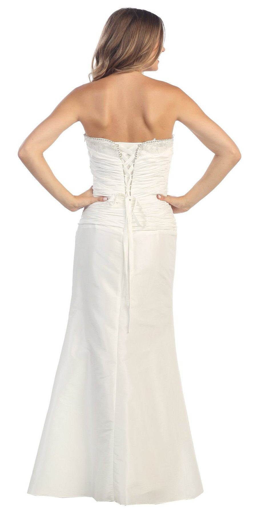 ON SPECIAL - LIMITED STOCK - Off White Formal Dress Long Formal Fancy Sweetheart Ruch Gathered Tight
