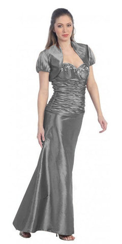 ON SPECIAL - LIMITED STOCK - Silver Formal Dress Long Formal Fancy Sweetheart Ruch Gathered Tight