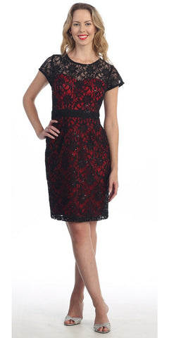Short Sleeve Black/Red Lace Dress Knee Length Illusion Neck