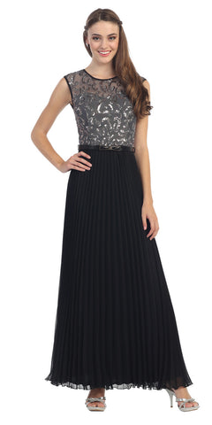 Cap Sleeve Long Pleated Chiffon Gown Charcoal Sequin Top