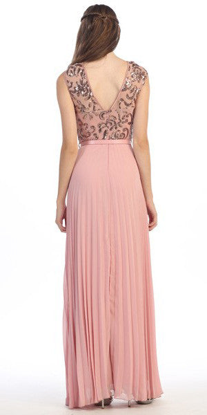 Cap Sleeve Long Pleated Chiffon Gown Dusty Pink Sequin Top