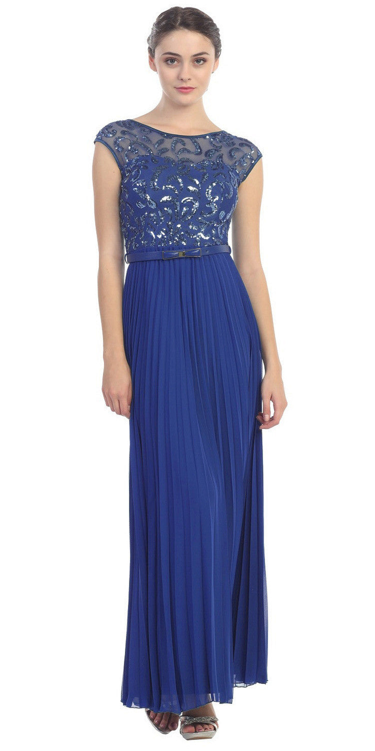 Cap Sleeve Long Pleated Chiffon Gown Royal Blue Sequin Top
