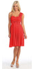 Red Bridesmaid Short Dress Knee Length Chiffon Flower Waist