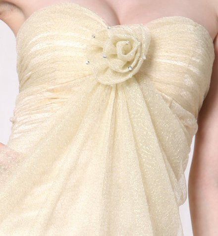 Champagne Tulle/Lace Dress Rose Flower Strapless Sweetheart Prom Dress