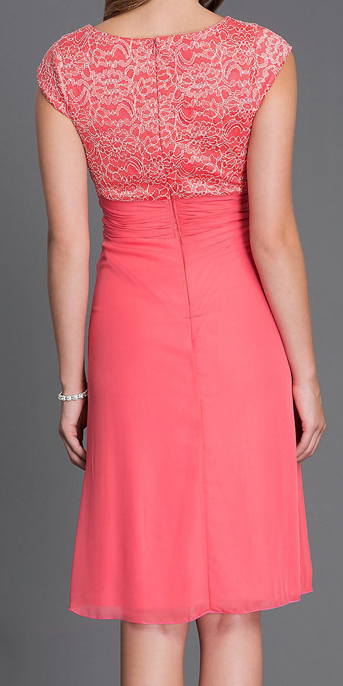 Knee Length Coral Lace/Chiffon Dress Short Bridesmaid Cap Sleeves