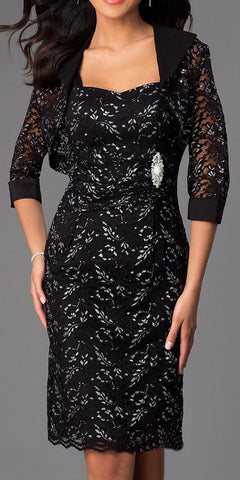 Modest Knee Length Black Lace Mother of Bride Dress W/Jacket Short