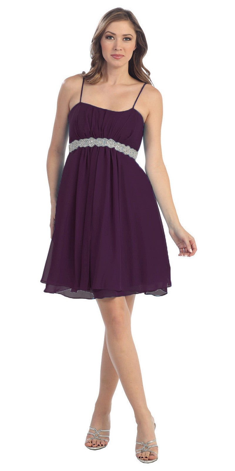 Short Knee Length Plum Chiffon Dress Empire Waist Spaghetti Straps