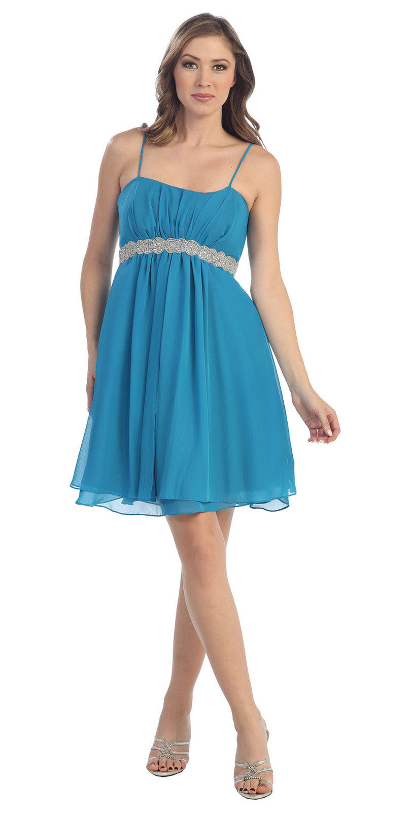 Short Knee Length Teal Chiffon Dress Empire Waist Spaghetti Straps